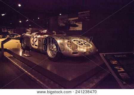 Naples, Florida, Usa - May 5, 2018:  Silver 1959 Porsche 718 Rsk Spyder Displayed At The Revs Instit