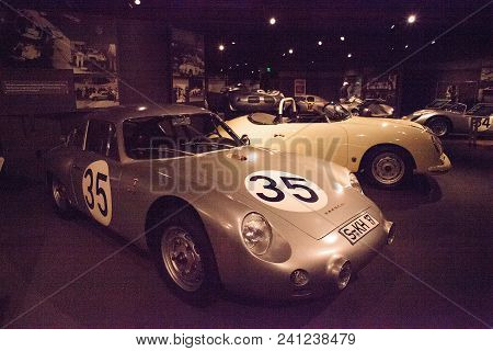 Naples, Florida, Usa - May 5, 2018:  Silver 1960 Porsche Abarth Carrera Gtl Displayed At The Revs In