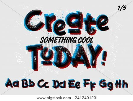 Vector Grunge Font. Double Exposure. Red, Black And Blue Colors. Textured Alphabet And Numbers. Crea