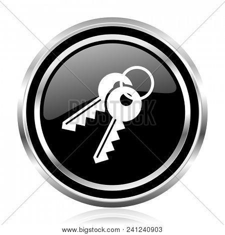 Keys black silver metallic chrome border glossy round web icon
