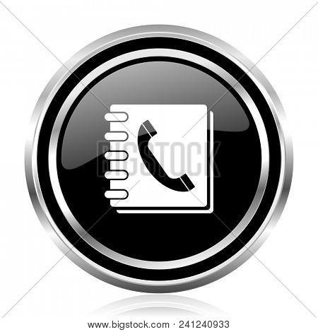 Phonebook black silver metallic chrome border glossy round web icon