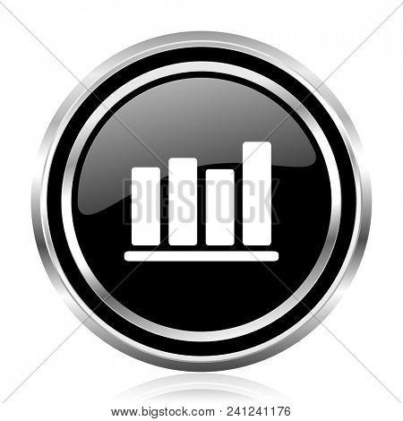 Bar chart black silver metallic chrome border glossy round web icon