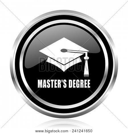 Masters degree black silver metallic chrome border glossy round web icon