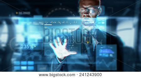 business, augmented reality, technology and cyberspace concept - close up of businessman in suit working with virtual screen over abstract background