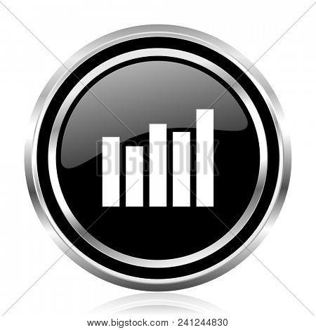 Graph black silver metallic chrome border glossy round web icon