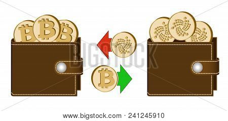 Exchange Bitcoin To Iota Between Wallets On A White Background , Exchange Cryptocurrency In The Wall