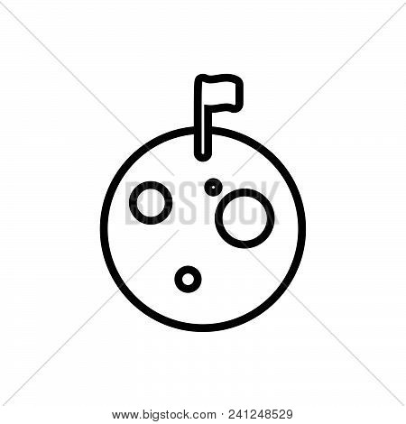 Moon Surface With Craters And Flag, Lunar Surface With Flag Symbol. Moon Icon. Moon Icon Vector Eps.