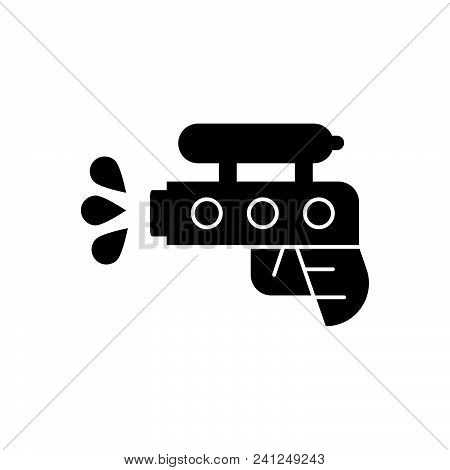 Water Pistol Vector Icon On White Background. Water Pistol Modern Icon For Graphic And Web Design. W