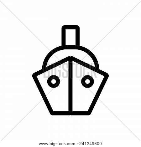 Ship Front View Vector Icon On White Background. Ship Front View Modern Icon For Graphic And Web Des