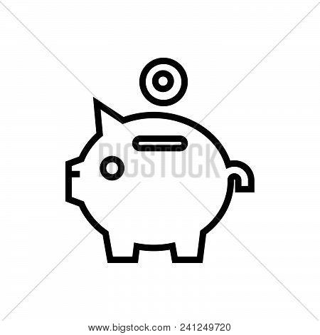Piggy Bank Vector Icon On White Background. Piggy Bank Modern Icon For Graphic And Web Design. Piggy