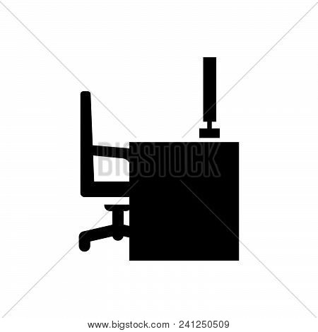 Office Table Vector Icon On White Background. Office Table Modern Icon For Graphic And Web Design. O