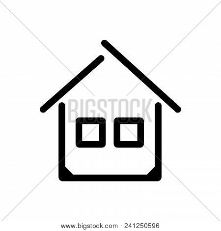 House Building Outlined Symbol Of Private Home, House Vector Icon, House Image Jpg, House Isolated V
