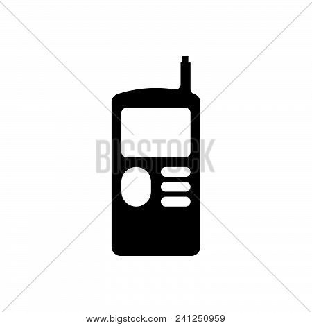 Vintage Mobile Phone Vector Icon On White Background. Vintage Mobile Phone Modern Icon For Graphic A