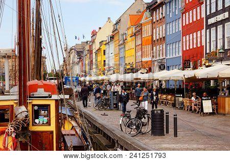 Copenhagen, Denmark - August 24, 2017: View Of The Copenhagen District Of Nyhavn.