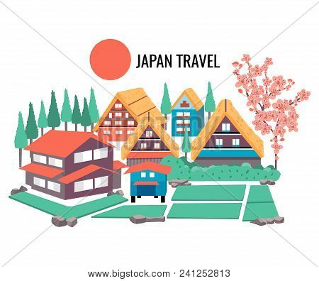 The Concept Of Japanese Tourism With The Illustration Of Famous Old Village Named Shirakawago,listed