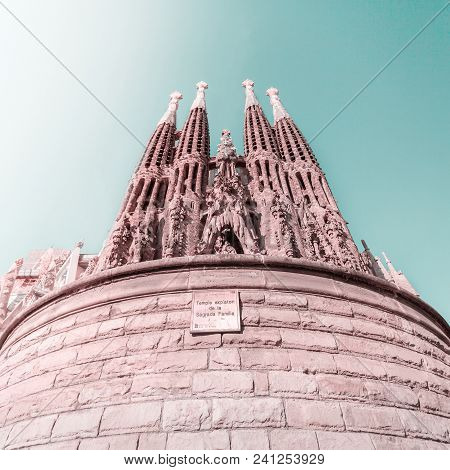Barcelona, Spain - June 7, 2015: Expiatory Temple Of The Holy Family. View Of The Sagrada Familia A