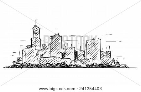 Vector Artistic Sketchy Pen And Ink Drawing Illustration Or Sketch Of Generic City High Rise Citysca