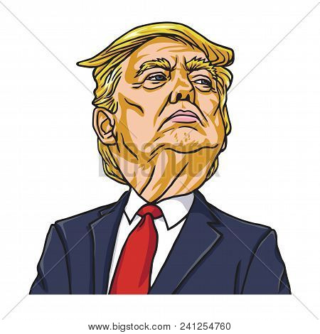Donald Trump The President Of The United States Of America. Cartoon Vector. Washington, May 19, 2018