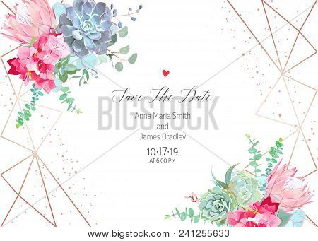 Polygonal Floral Vector Design Frame With Glitter. Pink Hydrangea, Protea, Blue Echeveria Succulent,