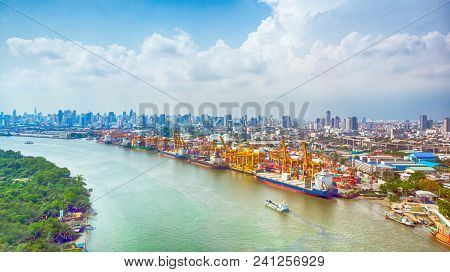 Aerial View Panorama From Drone. Ship In Import/export Business And Logistics. Shipping And Cargo To