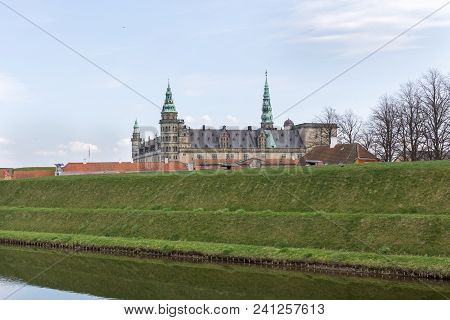 Helsingor, Denmark - April 28, 2018: Exterior View Of The Historical Kronborg Castle