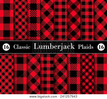 Classic Set Lumberjack Plaid Pattern In Red And Black. Template For Clothing Fabrics. Seamless Vecto