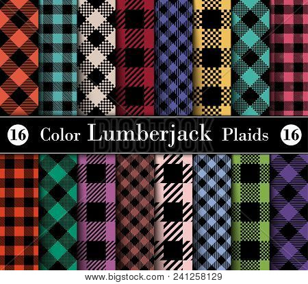 Set Lumberjack Plaid Pattern In  Different Colors. Template For Clothing Fabrics. Seamless Vector Pa