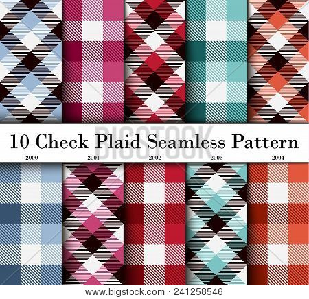 Set 10 Check Plaid Seamless Pattern In  Blue, Crimson, Red, Green And Orange Colors. Template For Cl
