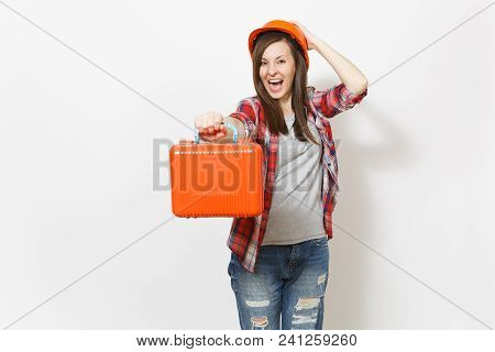 Young Crazy Beautiful Woman In Casual Clothes Protective Hardhat Holding Case With Instruments Or To