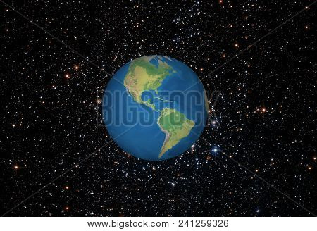 Earth Rotated On Galaxy Background .map And Star This Image Furnished And Courtesy Of Nasa.
