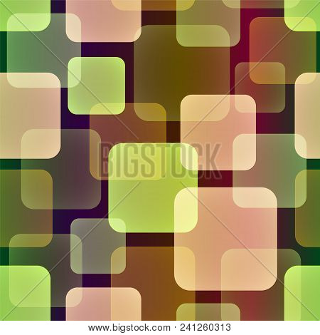 Seamless Vector Pattern Of Overlap And Transparent Squares  In Warm Tones. Appropriate For Textile,