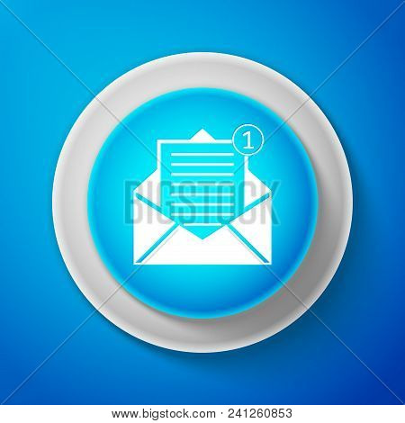 Received Message Concept. White Envelope Icon Isolated On Blue Background. New, Email Incoming Messa