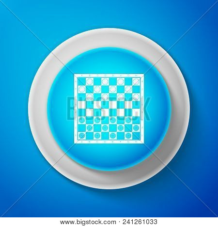 White Board Game Of Checkers Icon Isolated On Blue Background. Ancient Intellectual Board Game. Ches