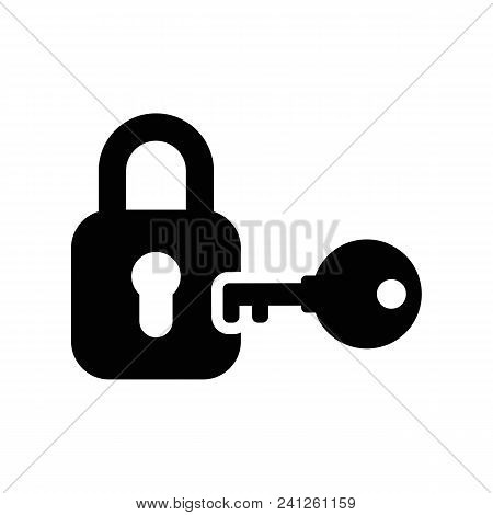 Lock And Key Vector Icon. Black Icon On White Background.