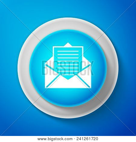 White Mail And E-mail Icon Isolated On Blue Background. Envelope Symbol E-mail. Email Message Sign.