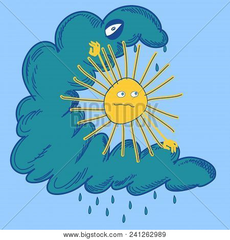 Sun Is Struggling With Cloud. Vector Illustration Of The Sun Is Struggling With Cloud
