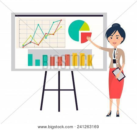 Business Woman Making Presentation Near Flipchart Pointing On Diagram By Hand. Vector Illustration O