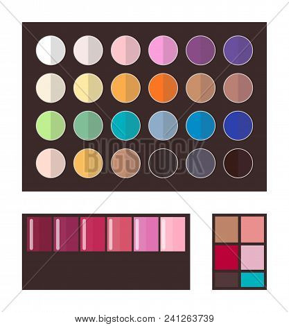 Make Up And Eyeshadows, Collection Of Tones, Palette Of Colors, Cosmetics And Products For Ladies, V