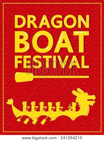 Yellow Dragon Boat Festival On Red Abstract Background Vector Design. Dragon Boat Festival Is A Trad