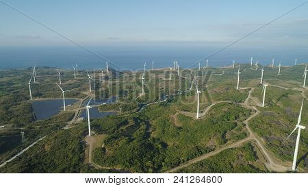 Aerial View Of Windmills For Electric Power Production On The Seashore. Bangui Windmills In Ilocos N