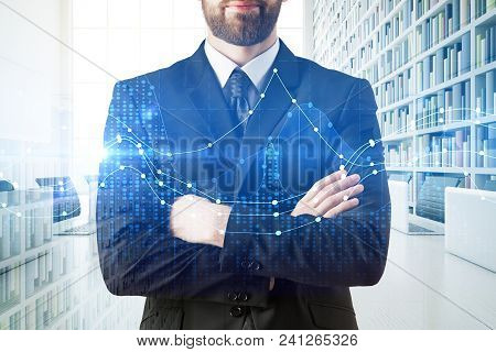 Unrecognizable Young Businessman On Abstract City Office Background With Forex Chart. Trade, Investm