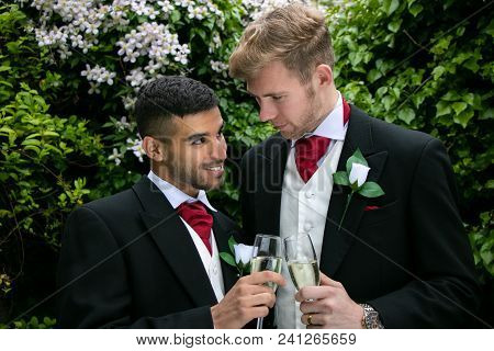 Two Gay Men Or Grooms Wearing Morning Suits Pose For Photographs At Their Wedding Reception And Toas