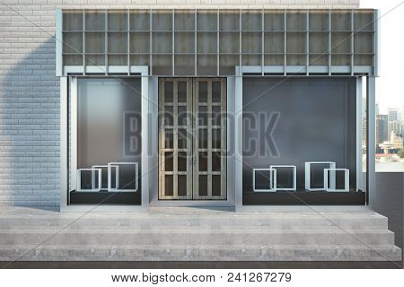 Modern Glass Storefront Exterior With Copy Space. Fashion And Ad Concept. Mock Up, 3d Rendering