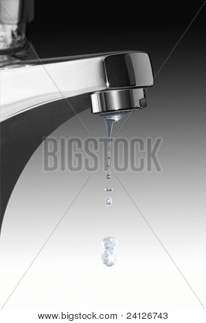 Dripping Faucet And Water Drops