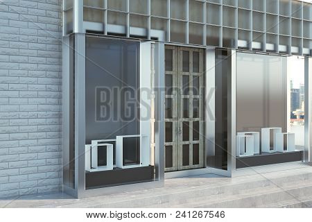 Urban Glass Storefront Exterior With Copy Space. Fashion And Ad Concept. Mock Up, 3d Rendering