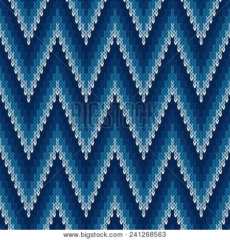 Chevron Abstract Knitted Sweater Pattern. Vector Seamless Background With Shades Of Blue Colors. Woo