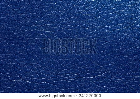 Contrast Blue Leatherette Texture For Your Style. High Resolution Photo.