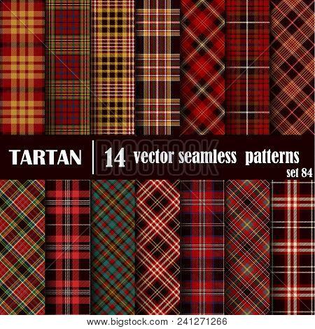 Set Tartan Seamless Pattern. Trendy Illustration For Wallpapers. Tartan Plaid Inspired Background. S