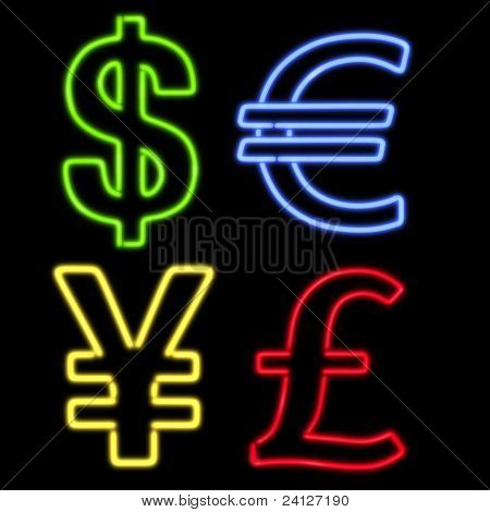 Four Neon Currency Symbols On Black