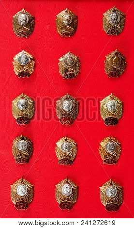 Badges, Military School, Badges Of The Military Suvorov Cadet School For Many Years, Collection